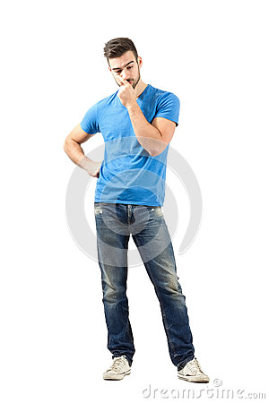 Free Young Worried Man Thinking Looking Down Royalty Free Stock Images - 47436359