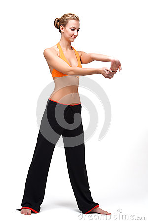 Younge woman stretching the muscles of her hands