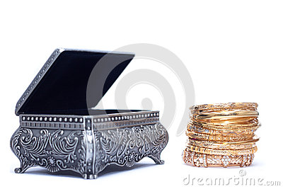 of luxury gold bracelet with an opened silver chest