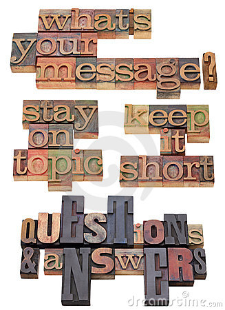 Your message question in letterpress type