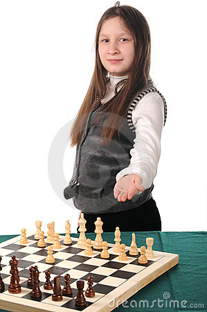 Your turn. Girl inviting to play chess