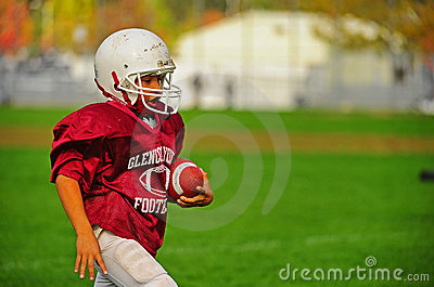 Youth American Football in the end zone Editorial Stock Photo