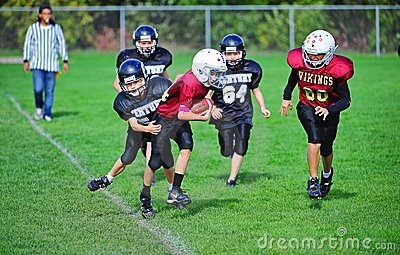 Youth American Football out of bounds Editorial Stock Image