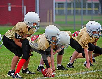 Youth American Football Scrimmage Line Ready Editorial Photography