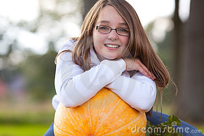 Youth autumn girl smiling