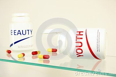 Youth and beauty pills in a bottle