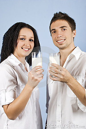 Youth couple with milk