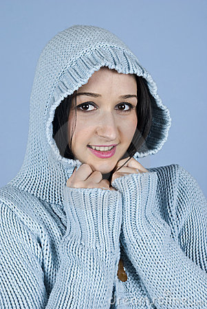 Youth female in hood wool