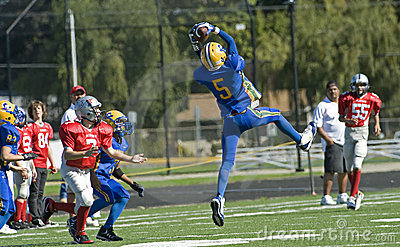 Youth Football Interception Editorial Stock Image