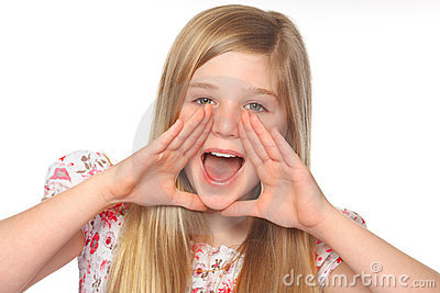 Youth girl shouting out loud