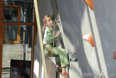 Youth indoor climbing Editorial Stock Image