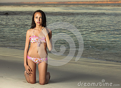 Youth multiracial teen at the beach