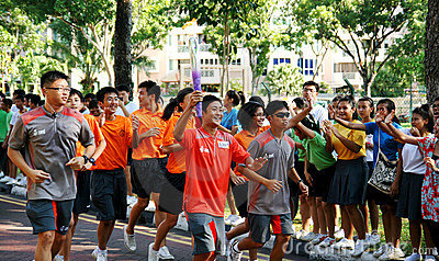 Youth Olympic Games 2010 Torch Relay Editorial Image
