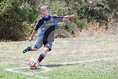 Youth Soccer Football Player Kicks the Ball