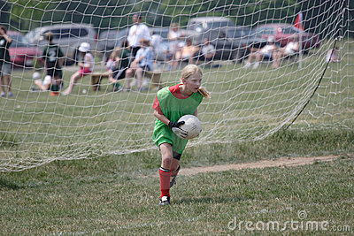 Youth Soccer Goalie In Action