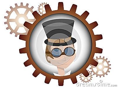 Youthful cartoon steampunk man inside gear