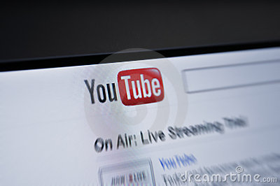 YouTube.com main page internet screen Editorial Photo