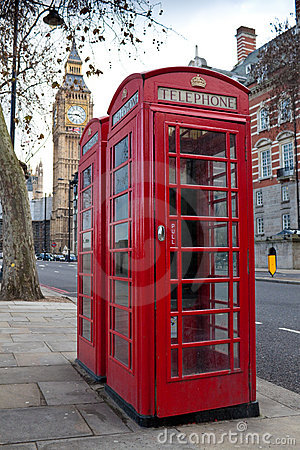 Ypical red phone booths with the Big Ben in
