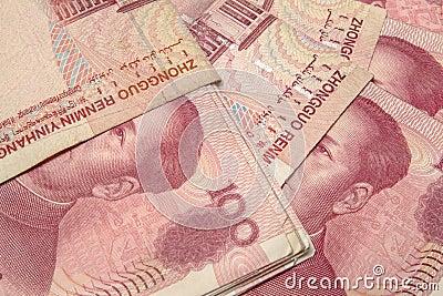 Yuan notes closeup