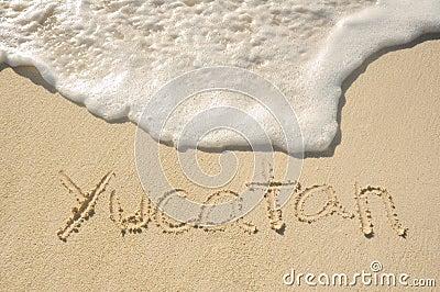 Yucatan Written in Sand on Beach