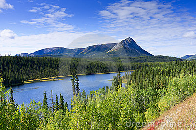 Yukon Lake And Mountain Vista