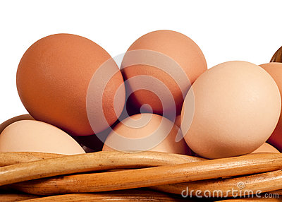 Farm Fresh Eggs In Basket Close Up Isolated