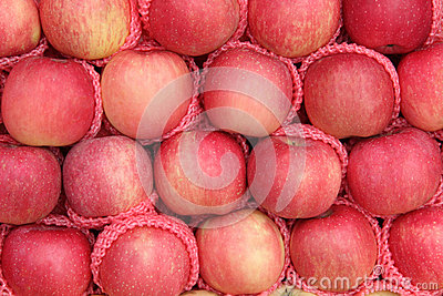 Yummy pile of apples fruit in a market