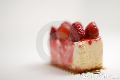 Yummy strawberry cake melting
