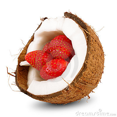 Yummy strawberry in coconut