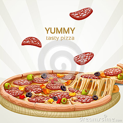 Yummy tasty pizza with sausage