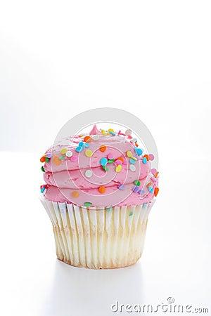 Yummy Vanilla Cupcake On White Background Vertical Royalty