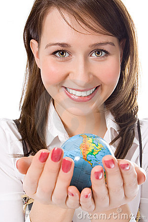Yung beauty girl hold globe in palm
