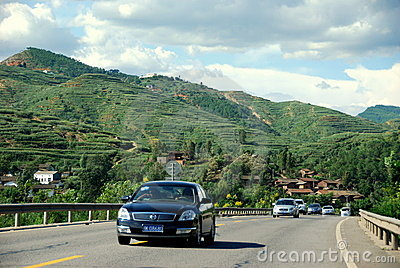 Yunnan Province: Cars on Highway Editorial Stock Image