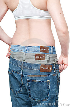 Free Yuong Woman Monitoring Weight Loss Stock Image - 18756831