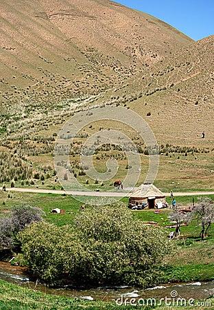 Yurt in Kyrgyzstan landscape