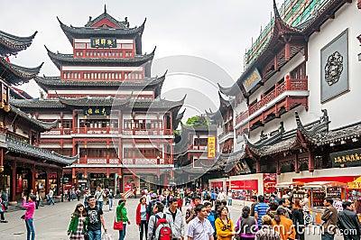 В комплексе сада Yuyuan Редакционное Фотография