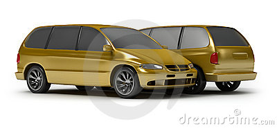 Two gold cars