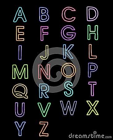 A-z della luce laser delle fonti tipografiche di alfabeto