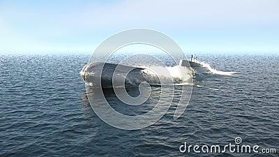 Z głębin oceanu wyłania się okręt podwodny o napędzie jądrowym