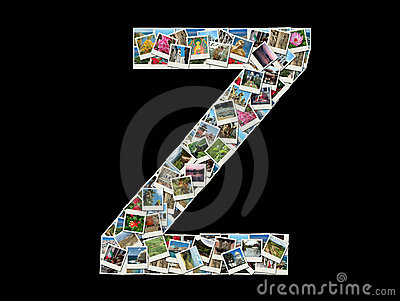Z letter - collage of travel photos