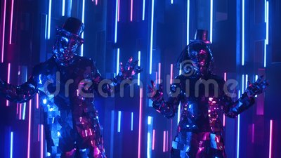 Zabawni tancerze w musujących kostiumach tańczący synchronicznie na neonowej ścianie zbiory