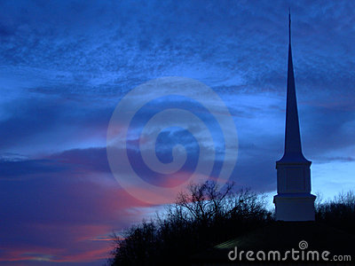 Zachód słońca z wieży kościoła