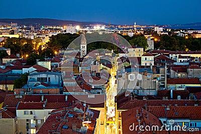 Zadar peninsula calle larga panorama in evening