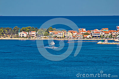 Zadar peninsula tourist destination and blue sea