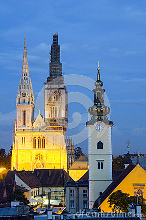 Zagreb by night Editorial Image