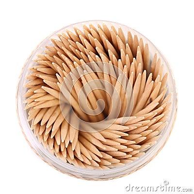 Zahnstocher in einem runden Kasten, Draufsicht