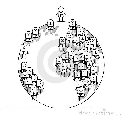 Zakenlieden en wereld