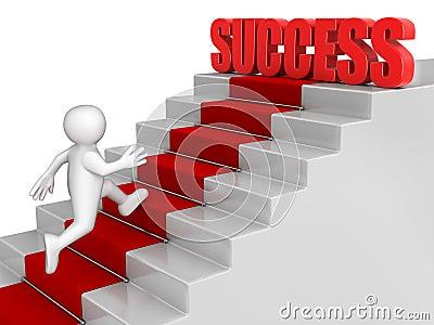 Zakenman aan Succes in werking dat wordt gesteld dat