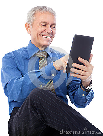Zakenman die tablet gebruiken
