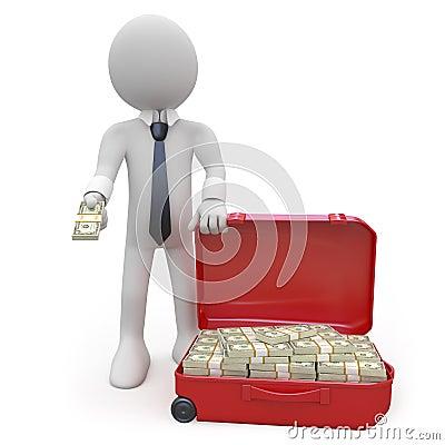 Zakenman met een kofferhoogtepunt van pakjes van contant geld